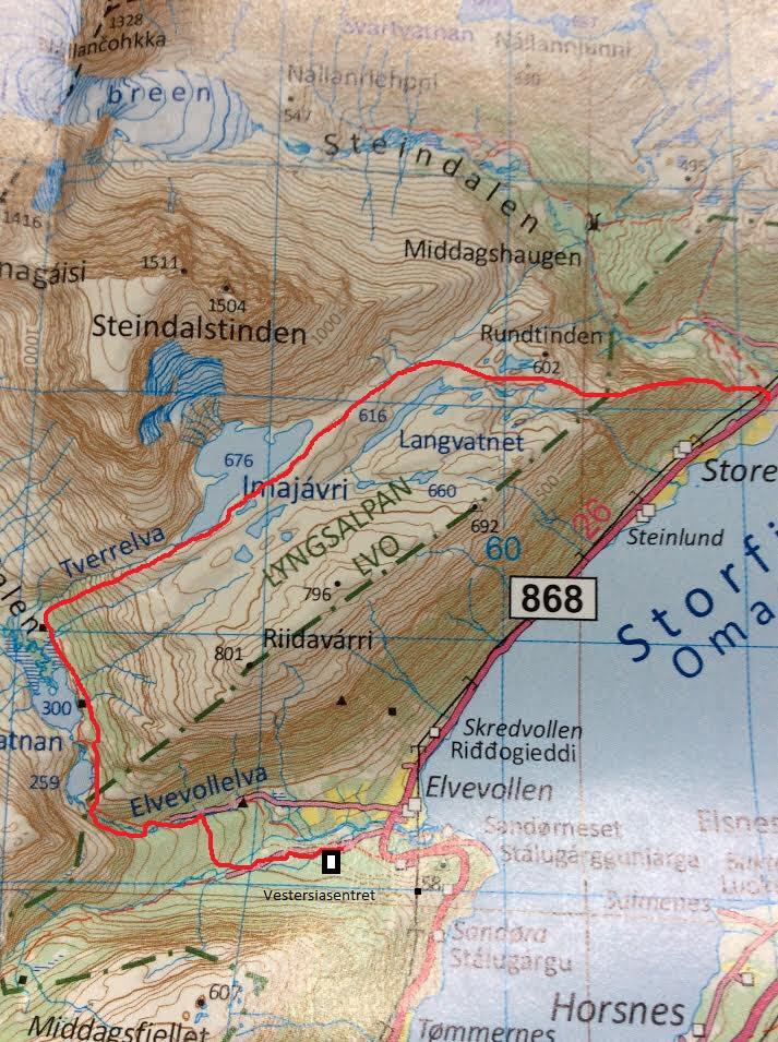 Slik ser turen Steindalen - Elvevoll ut på kartet.